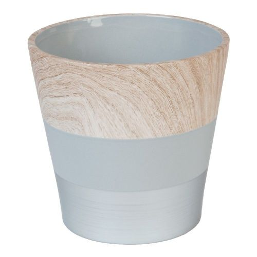 Concrete Grey and Wood Effect Ceramic Planter 17cm x 18cm Diameter